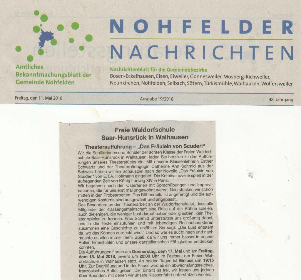 nohfelder Nachrichten: Das Fräulein von Scuderi